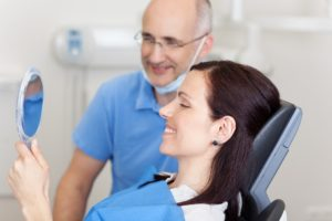 Woman happy at dentist